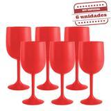 Taça de Vinho Durável Vermelha Leitosa 290ml 6 unidades Bezavel - Festabox