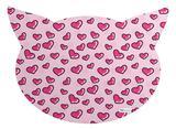 Tapete PET Mdecore Cabeça de Gato Coração Rosa