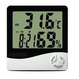 Termo Higrômetro Digital Com Máxima E Minima Medidor De Temperatura E Umidade Com Relógio E Alarme - Hpl