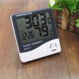 Termo-higrômetro Digital Termômetro E Higrômetro De Máxima E Mínima Com Relógio E Despertador HTC1 - Tomate