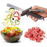 Tesoura clever cutter profissional 2 em 1 com tabua de corte para vegetais legumes carne - Gimp