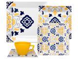 Aparelho de Jantar Chá 20 Peças Oxford - Porcelana Quadrado Estampado Quartier Sevilha