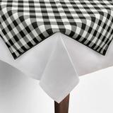 Toalha de Mesa Cobre Mancha Quadrado em Tecido Xadrez Preto e Branco 0,80m - Festabox