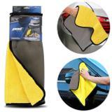 Toalha de Microfibra e Malha 2 em 1 Amarelo e Cinza Limpeza Automotiva Interna e Externa - Pod1
