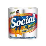 Toalha de Papel Social Clean Folha Dupla com 2 rolos