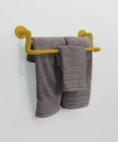 Toalheiro Duplo Suporte Porta Toalhas de Parede Acessório para Banheiro - Amarelo Laca - Formalivre