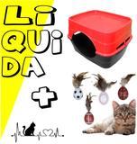 Toca casa casinha de gato plástico desmontável + bolinha - Rb