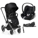 Travel System Cybex Platinum Priam Trekking C/ Lux Seat + Cloud Q Stardust Black + Base