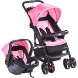 Travel System Moove (carrinho + bebe conforto) Rosa Trama - Cosco