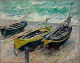 Três Barcos de Pesca - Claude Monet - Tela 50x63 Para Quadro - Santhatela