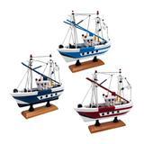 Trio de Miniaturas Barcos de Pesca Flying Lady em Madeira Nusa Dua