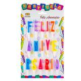 Vela de Aniversário Feliz Aniversário Colorida Mundo Bizarro - Festabox