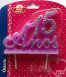 Vela Especial De 15 Anos Para Festa E Bolo De Aniversário Lilás com Prata - Ref: 1228 - Velarte