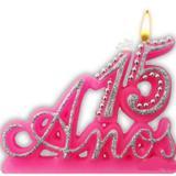 Vela Especial De 15 Anos Para Festa E Bolo De Aniversário Rosa com Prata - Ref: 1229 - Velarte