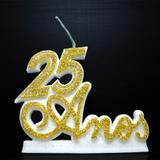 Vela P/ Festa Aniversário 25 Anos Bodas de Prata Casamento Dourada Strass - Decore fácil shop