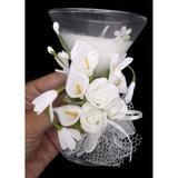 Vela Parafina Decorativa Media Larga Festas Casamento 15 Anos Flor Branca (WL-D) - Braslu