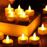 Velas De LED Com Bateria Kit 24 Uni - Cor Branca Luz Amarela - Encanto velas decorativas
