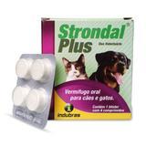 Vermífugo Oral Indubras Strondal Plus Para Cães E Gatos 1 Blíster Com 4 Comprimidos