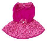 Vestido Cachorro Malha Laço Rosa Saia Estampada Flores P - Nica pet