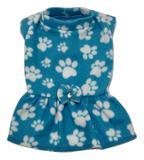 Vestido De Inverno Soft Cachorro Azul Estampa Patinhas Tam M - Nica pet