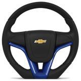 Volante Esportivo Modelo Base Reta Cruze Azul Corsa Celta Monza Prisma e Outros GM com Cubo Embutido - Cvd