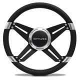 Volante Esportivo Preto Com Anel Cromado Sem Cubo Universal Shutt VX4B Black