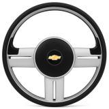 Volante Esportivo Rallye Slim Prata Celta Corsa Astra Sem Cubo + Emblema Chevrolet - Prime