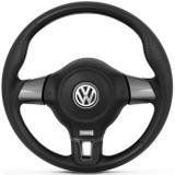 Volante Jetta Turbo Grafite Gol Saveiro G5 Polo Fox Golf Bora Voyage Emblema VW Com Cubo Embutido - Cvd