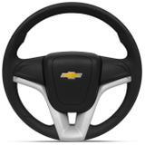 Volante Modelo Cruze Preto com Prata Universal Sem Cubo com Acionador de Buzina - Cvd