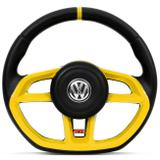 Volante Modelo Golf GTI Vision Amarelo Acionador de Buzina Universal Gol Celta Astra Saveiro - Cvd