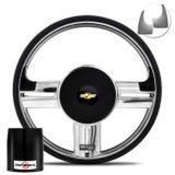 Volante Shutt Rallye Slim Xtreme Cromado Prata Escovado Cubo Celta Prisma Corsa Monza Astra 82 a 14