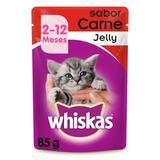 Whiskas Sachê Jelly Para Gatos Filhotes de 2 a 12 Meses Sabor Carne 85g