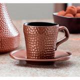 Xícara com Pires Ceraflame Martelada Chocolate - 150ml