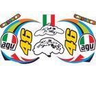 Cartela jogo de adesivos 46 capacete personalizado 10 peças