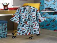 Roupao infantil aveludado p hot wheels