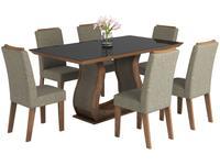 Conjunto de Mesa 6 Cadeiras Estofadas