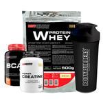 Kit Whey Protein 500g Baunilha + BCAA 4,5 100g + Power Creatine 100g + Coqueteleira  Bodybuilders