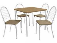 Mesa de Cozinha 4 Cadeiras Quadrada Crome Jade