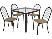 Mesa de Cozinha 4 Cadeiras Quadrada Tampo de Vidro