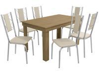 Mesa de Cozinha 6 Cadeiras Retangular Crome