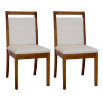 02 cadeiras em madeira maciça assento estofado ferrugine design 100% madeira -
