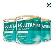 03 Suplemento Aminoácido L-Glutamina Pó 300g 100% Pura Loja Maxinutri -