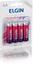 04 Bateria ELGIN AA 2700mAh Recarregável Alcalina 1 cartela -
