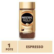 1 Pote de Vidro Nescafé Gold - Café Solúvel 100% Arábica  Espresso - 100g -