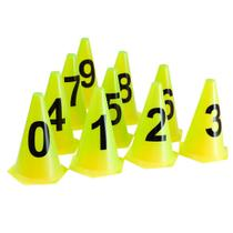 10 Cones NUMERADOS 24cm p/ Treinamento AX Esportes Amarelo -