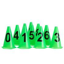 10 Cones NUMERADOS 24cm p/ Treinamento AX Esportes Limão -