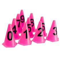 10 Cones NUMERADOS 24cm p/ Treinamento AX Esportes Rosa -