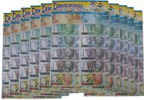 10 Embalagens Mini Dinheiro Brinquedo C/70 Unidades Cada -