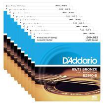 10 Encordoamentos Violão Aço Daddario .011 85/15 Ez910 -