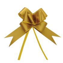 10 Laços Gravata Embalagem Presente Fita 12Mm Acetina Ouro - Cromus